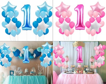 1st Birthday Foil Latex Balloon Set Of 25 Pcs For Party Decoration Blue Boy Pink Girl