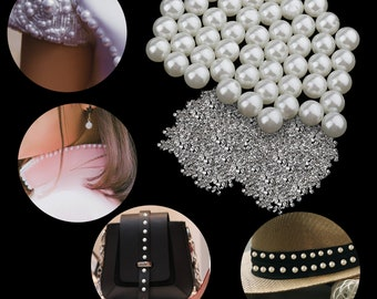 2500 Pieces Handmade Pearl Rivets Studs for Beading Crafts and DIY Wedding Decoration Garment Shoes Bag Accessories