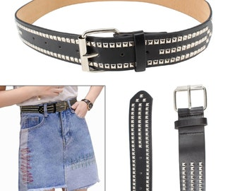 LADIES LEATHER GOTHIC 12MM CONICAL STUDDED MIX MENS WOMENS JEAN BELT
