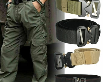 125cm x 3.8cm Trimming Shop Military Style Webbing Belt Webbed Canvas Strap Automatic Metal Clasp Buckle Adjustable Army Waist Band Outdoor Utility Wear Red