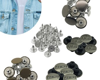 Acrsikr No Sew Adjustable Jeans Pant Buttons Replacement 17MM 9Pcs Jean Button Pins