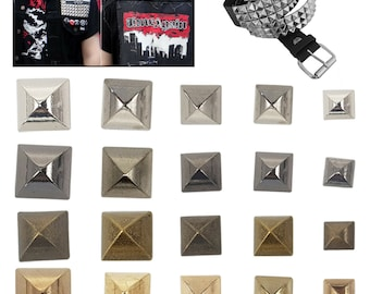 Trimming Shop 100 Spike Square Studs Rivets in Silver//Nickel for Leather Clothing Bags Jeans Craft Punk Pyramid Studs for Embellishment 8mm Bronze//Antique Brass