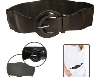 4ae7e82df Adjustable Black Fashion Waist Belt D Shape Shiny Buckle Elasticated  Stretch For Women, Ladies, Girls. Trimmingshop