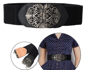 568d336bdf52a Black Ladies Women Stretch Elasticated Waist Belt 60mm Wide with Metal  Buckle For Party Dress Casual Fashion Western Wear Outfits