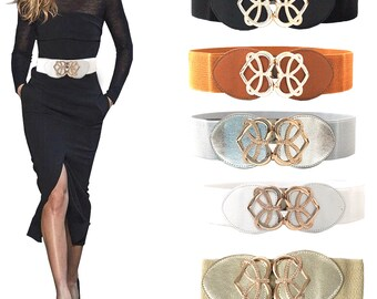 efd3a335a Ladies Elasticated Fashion Belt Stretchable Adjustable Waistband with Heart  Shape Buckle Women Girl Fashion Jewelry. Trimmingshop