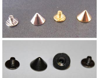 7mm x 10mm 50 x Gold Punk Spike Cone Screw Back Studs//Rivets UK BRASS