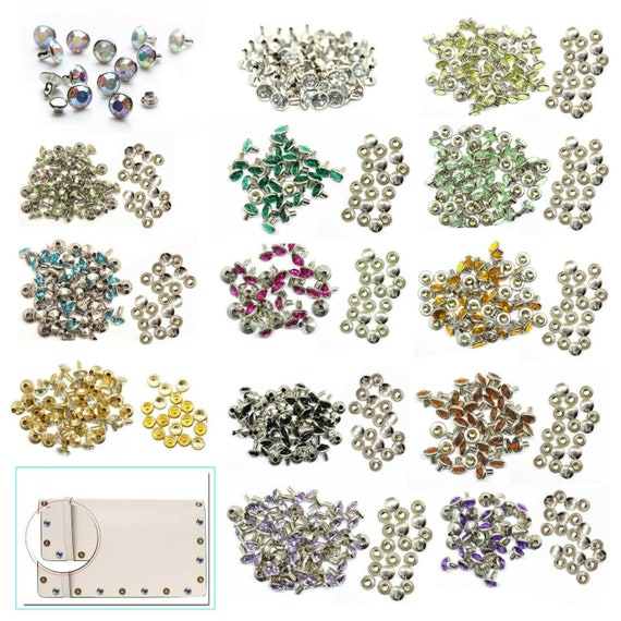 Bags or Dog Collars Pack of 10 Trimming Shop 8mm Diamante Rivet Studs for Leather Crafts with Apple Green Coloured Acrylic Rhinestones Perfect for Belts
