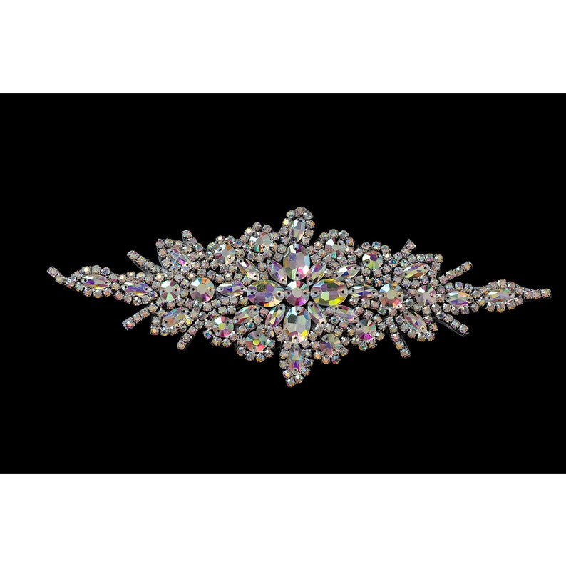 Clear Crystal Diamante Diamond Rhinestone Motif Brooch in Silver /& Ab Silver Sewing Applique Bridal Clothes Decoration Patch