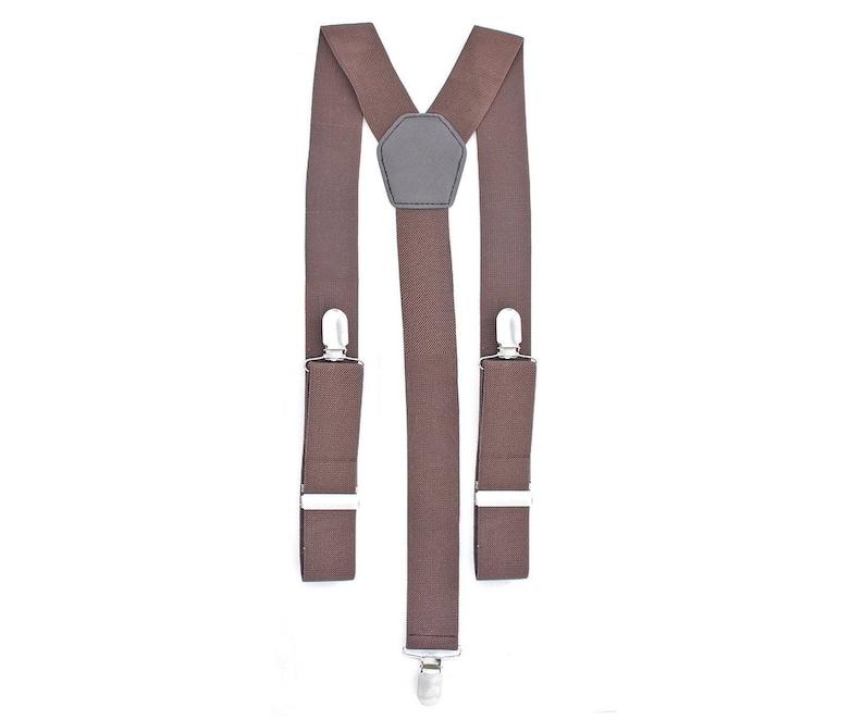 Mens Grey 1 inch Elasticated Plain Braces Adjustable Suspender 4 Clip UK Seller