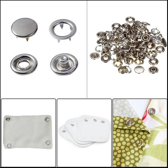 UK 100x 9.5mm Prong Pliers Ring Snap Fasteners Press Studs Kit Grommet Tool DIY