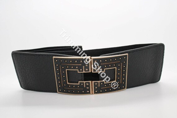 76mm Wide Stretch Elasticated Waist Belt Girl Fashion Charm Adjustable Waistband