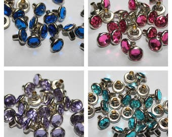 50 x 8mm Diamante Rivets for Leather Craft - 20 different Acrylic colours - UK