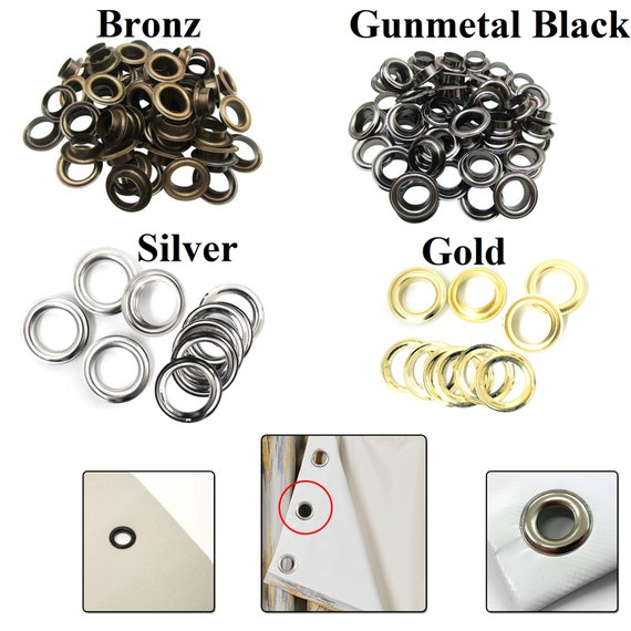 14mm Gun Metal Eyelets with Washers for Banners Craft Vinyl Grommet Metal Round