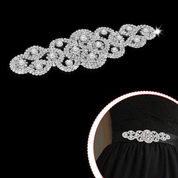 Diamante Motif Sew On Sparkling Crystals Rhinestone Applique Wedding Dress Patch