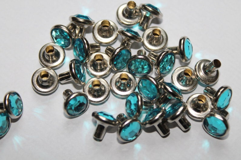 UK 50 x 8mm Diamante Rivets for Leather Craft 20 different Acrylic colours