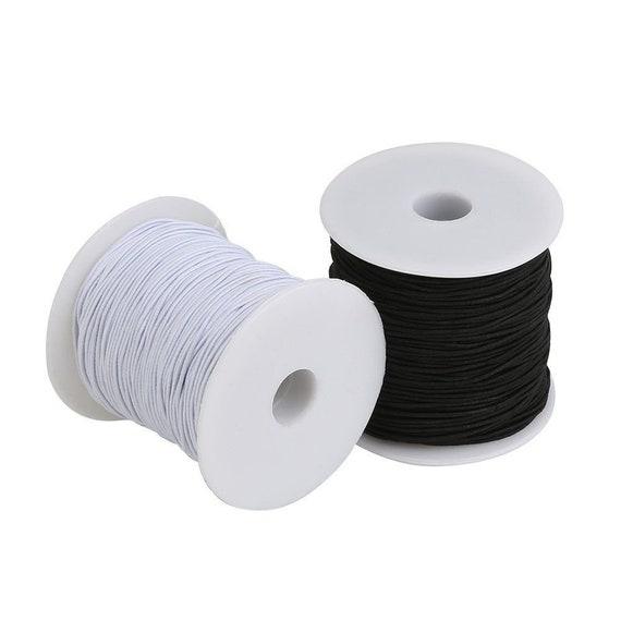 25 M 1 mm Blanca Redonda Con cuentas Cordón Elástico