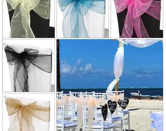 100pcs ORGANZA SASHES Chair Cover Beautiful Fuller Bow Ribbon Sash Wedding Party Event Banquet