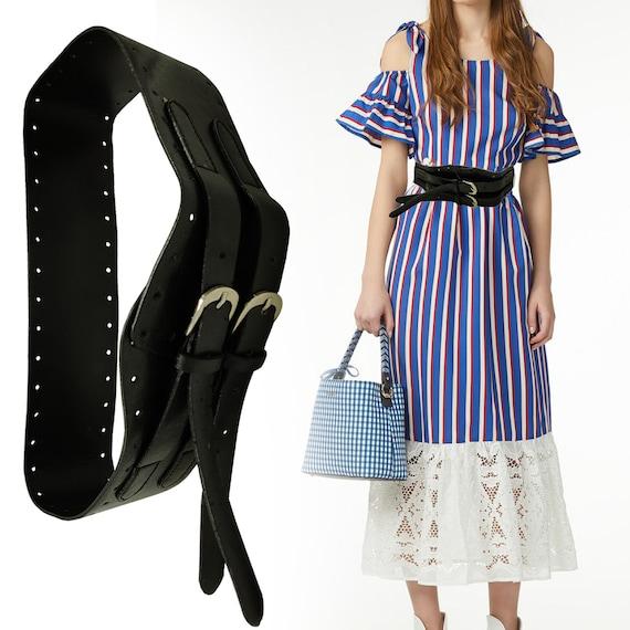 Beloved Womens Vintage Metal Buckle Elastic Stretch Waistband Wide Waist Belt