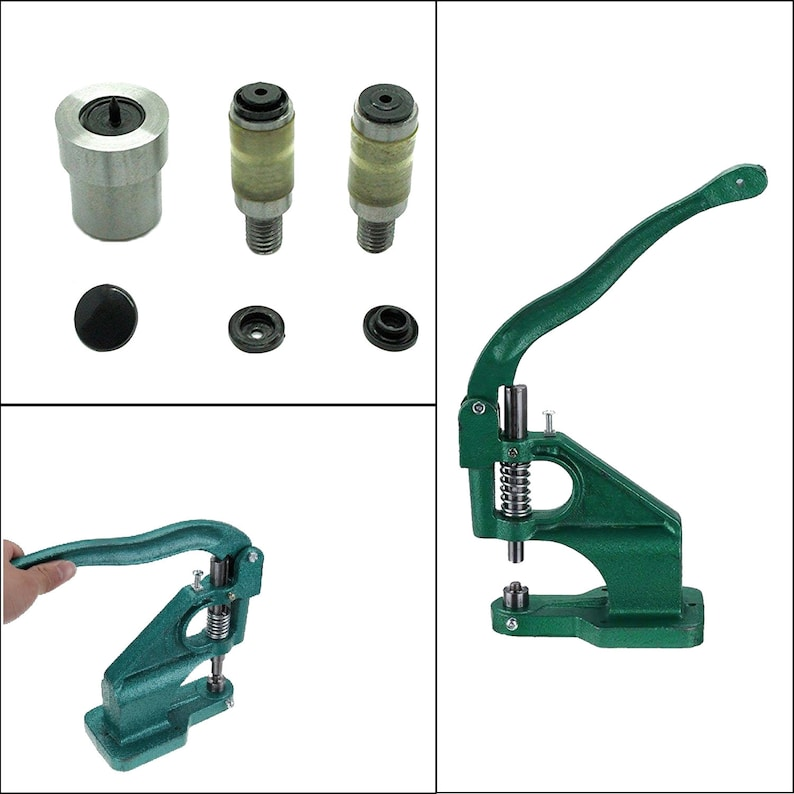 Universal Green Hand Rivet Press Machine & Die Set for KAM Snaps in T3  (Size 16-10 7mm), T7 (Size 22-14mm), T5 (Size 20-12 4mm)