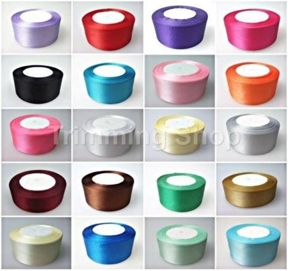 Satin Ribbon Set 5 colours x 5 meters 25mm wide for craft trim decorations