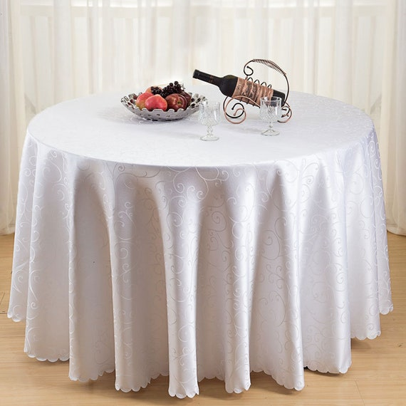 """90/"""" White Damask Round Tablecloth for Christmas Tableware Banquet Dinner Parties"""