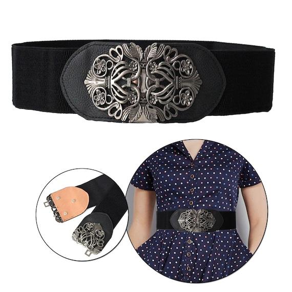 Classy Women Wide Vintage Silver Metal Elastic Stretch Belt Waist Faux Leather