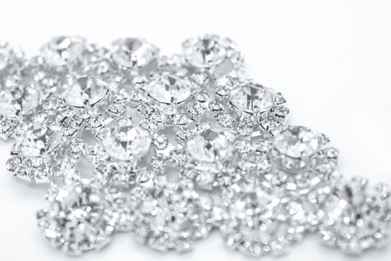 Clear Diamond Rhinestone Silver Motif Sew On Applique Embellishment Patch B142