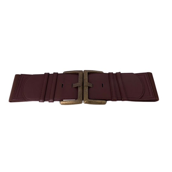 Ladies Double Buckle Brown Stretchy Wide Waist Belt Back Press Studs Fastening