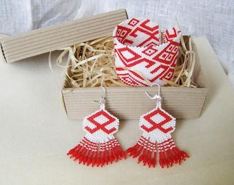 Women Beaded set earrings bracelet red Beaded cuff Ukrainian jewelry