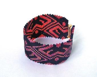Red gift bracelet wife birthday gift minimalist bracelet for him bracelet gypsy boho beaded bracelet for woman bead cuff ukrainian bracelet
