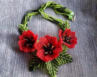 Flower jewelry set red necklace Green bracelet red earrings real cuff bracelet art red poppy girlfriend gift beaded flower necklace dainty