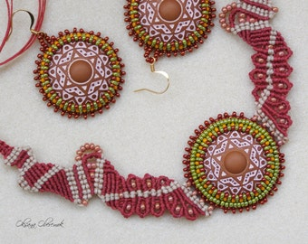 Boho Wedding necklace set macrame handmade colored necklace talisman jewelry mandala earrings beadwork mandala necklace mandala earrings