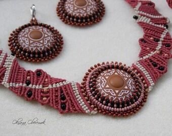 Mandala jewelry set Macrame necklace macrame bracelet and beadwork earrings Ethno necklace