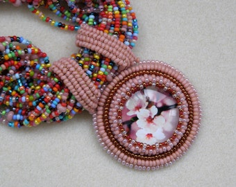 Blush Pink seed bead necklace gift for wife multicolor necklace multistrand wedding necklace for mom pink flower necklace pendant