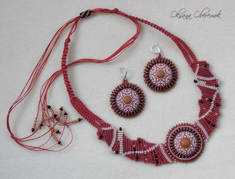 Red Pear Mandala jewelry set Macrame necklace macrame bracelet and beadwork earrings Ethno necklace