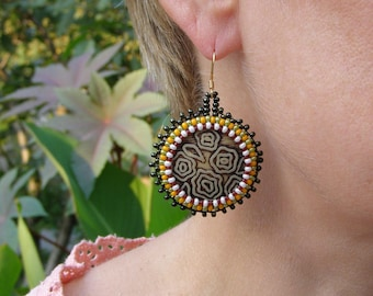 Beaded earrings boho big earrings beautiful African earrings casual Brown green earrings hippy african inspired nice earrings african button