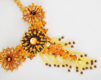 Bead Flower Necklace Amber sparkly necklace Flower Yellow tie necklace brown Boho Wedding necklace long tribal flower bib necklace women