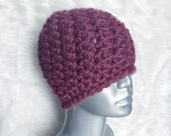 Chunky Purple Crochet Hat, Plum Crochet Beanie, Purple Winter Hat, Aubergine Ski Cap,  Textured Crochet Hat