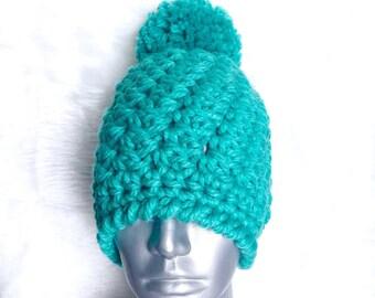 Chunky Crochet Hat Pattern, Trendy Crochet Beanie Pattern, Crochet Beanie with Pompom, Diagonal Beanie Pattern, Instant Download