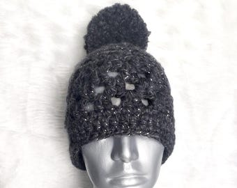 Gray Crochet Hat, Chunky Crochet Beanie, Lacy Crochet Beanie with Pompom, Charcoal Winter Hat, Dark Gray Crochet Hat