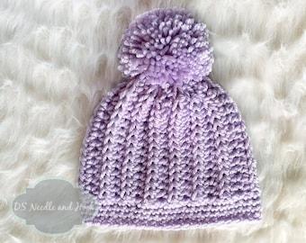 Crochet Hat Pattern, Chunky Ribbed Crochet Beanie Pattern, Crochet Beanie with Pompom, Vertical Rib Hat Pattern, Instant Download
