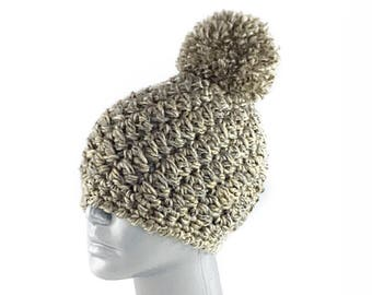 Taupe Crochet Hat with Pom, Chunky Beige and Gray Crochet Beanie, Brown Crochet Beanie with Pompom, Soft Winter Hat, Diagonal Crochet Beanie