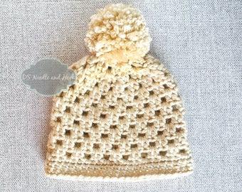 Chunky Crochet Hat Pattern, Trendy Crochet Beanie Pattern, Crochet Beanie with Pompom, Double Double Crochet Hat Pattern, Instant Download