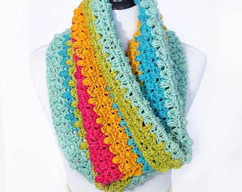 Blue Green Pink and Orange Crochet Scarf, Striped Crochet Cowl, Short Infinity Scarf, Crochet Neck Warmer, Colorful Snood, Handmade Cowl