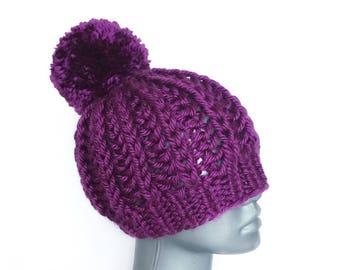 Purple Ribbed Knit Hat, Chunky Plum Slouchy Beanie, Warm Winter Hat with Pom Pom, Crochet Beanie, Soft Ski Cap