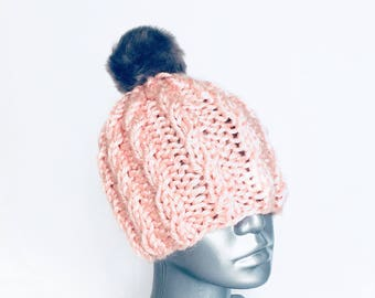 Pink Cable Knit Hat, Chunky Beanie with Faux Fur Pom, Pink Winter Hat with Gray Pompom, Pink Ski Cap,  Textured Knit Hat