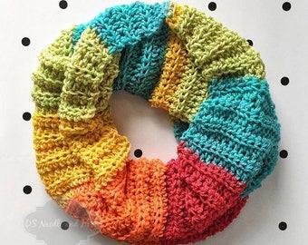 Red, Green, Blue, Yellow, Orange Crochet Scarf, Rainbow Crochet Cowl, Striped Shoulder Wrap, Neck Warmer, Infinity Scarf, Draped Cowl