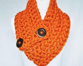 Orange Crochet Scarf, Chunky Button Cowl, Crochet Neck Warmer, Wrap Scarf - Pumpkin, Carrot Orange