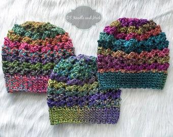 Chunky Crochet Hat Pattern, Lacy Crochet Beanie Pattern, Crochet Beanie with Pompom, Double V Crochet Hat Pattern, Instant Download