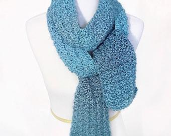 Blue Green Crochet Scarf, Super Scarf, Long Neck Warmer, Crochet Wrap Scarf, Knit Scarf